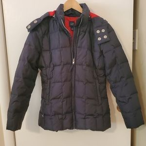 GAP Down Puffy Jacket With Hood in Navy XS